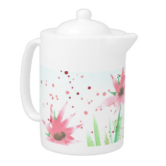 Watercolor Pink Floral Teapot
