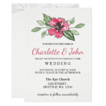 watercolor pink floral wedding invitations