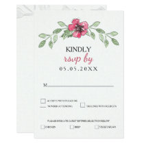 watercolor pink floral wedding rsvp card