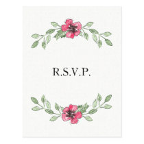 watercolor pink floral wedding rsvp postcard