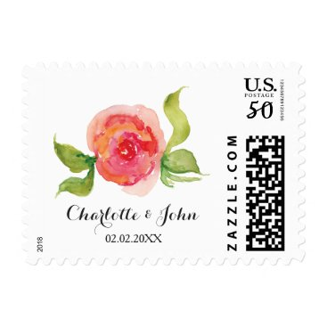 watercolor pink floral wedding stamps