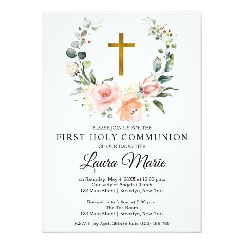 Watercolor Pink Florals First Holy Communion Invitation
