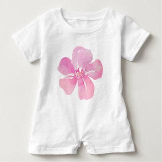 Watercolor Pink Flower Baby Romper