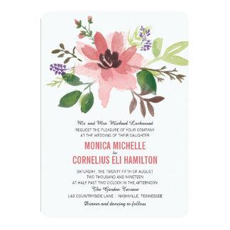 Watercolor Pink Flower Burst | Wedding Card