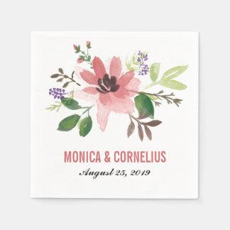 Watercolor Pink Flower Burst | Wedding Reception Paper Napkin