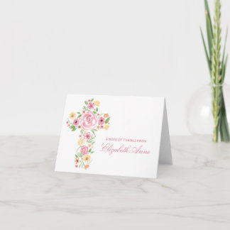 Watercolor Pink Flower Cross First Communion Card
