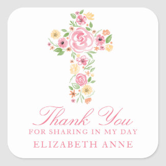 Watercolor Pink Flower Cross First Communion Square Sticker