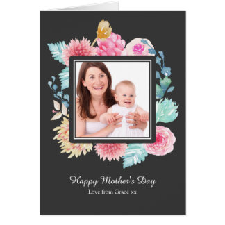 Watercolor Pink Flower Mothers Day Personalized Card
