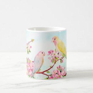 Watercolor Pink Flowers and Love Birds Mug