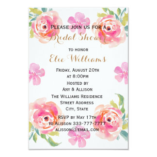 Watercolor Pink Flowers Bridal Shower Card