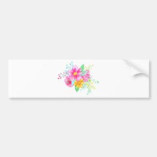 Watercolor Pink flowers Bumper Sticker