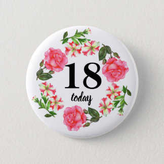 Watercolor Pink Flowers Circle Wreath Design Pinback Button