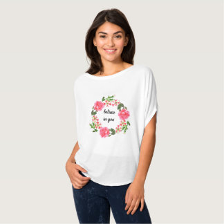 Watercolor Pink Flowers Circle Wreath T-Shirt