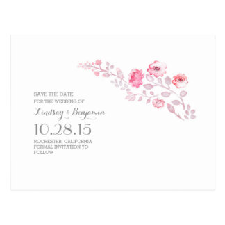 watercolor pink flowers cute save the date postcard