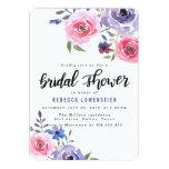Watercolor Pink Flowers Handwritten Bridal Shower Card