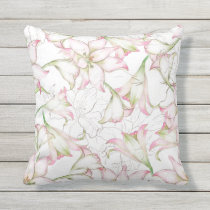 Watercolor Pink Flowers outdoor pillow