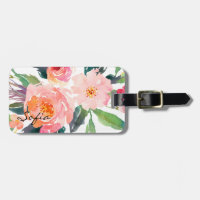 Watercolor Pink Flowers Personalized Bag Tag