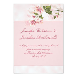 Watercolor Pink Flowers Post Wedding Reception Card