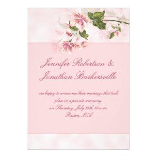 Watercolor Pink Flowers Post Wedding Reception Custom Invitations