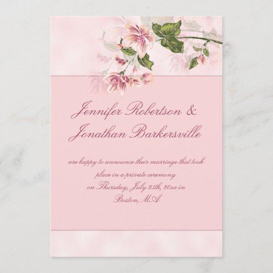 Watercolor Pink Flowers Post Wedding Reception Invitation