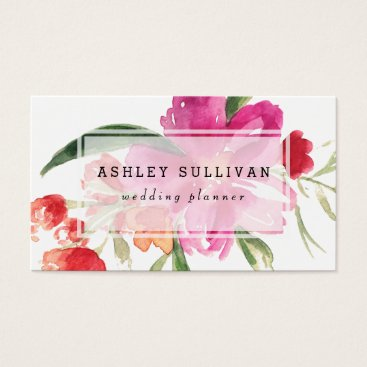 Professional Business Watercolor Pink Flowers Posy Floral Business Card