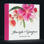 """Watercolor Pink Flowers Posy Personalized Binder<br><div class=""""desc"""">Customizable binder featuring whimsical watercolor illustrations hot pink posy and dots pattern. This will be prefect as a wedding binder. Similar items are available in my store.</div>"""