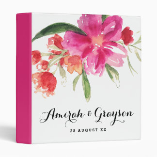 Watercolor Pink Flowers Posy Personalized Binder