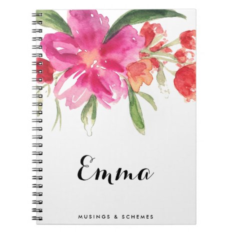 Watercolor Pink Flowers Posy Personalized Notebook