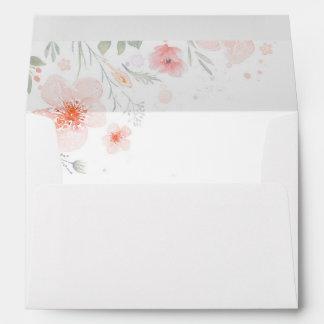 watercolor pink flowers summer meadow wedding envelope
