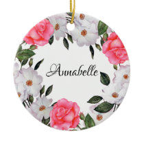 Watercolor Pink Flowers Wreath Circle Ceramic Ornament
