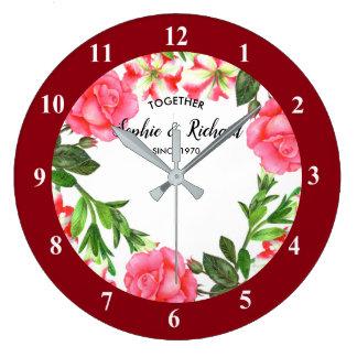 Watercolor Pink Flowers Wreath Circle Large Clock