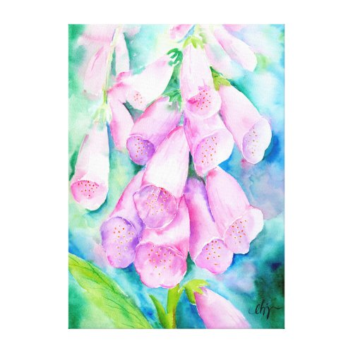 Watercolor Pink Foxgloves Canvas Print