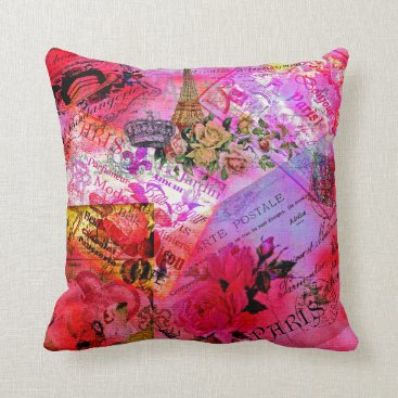 frankiesdaughter Watercolor Pink French Carte Postal Throw Pillow