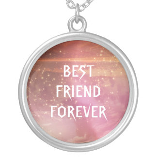 Watercolor Pink Glitter Best Friends Forever Silver Plated Necklace