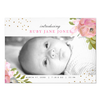 Watercolor Pink Gold Glitter Birth Announcement