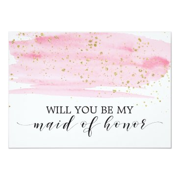 FreshAndYummy Watercolor Pink Gold Will You Be My Maid Of Honor Card