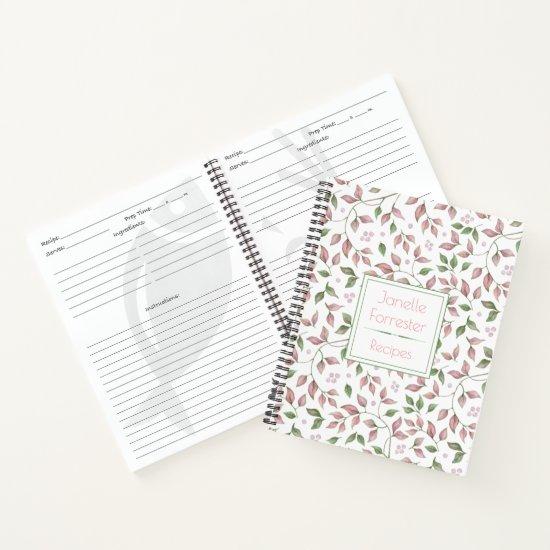 Watercolor Pink Green Leaves Monogrammed Notebook