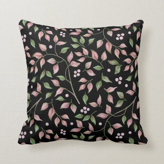 Watercolor Pink Green Leaves on Black | Throw Pillow