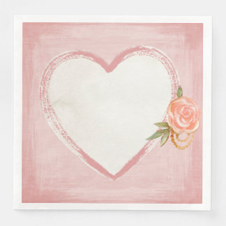 Watercolor Pink Heart & Rose Paper Dinner Napkin