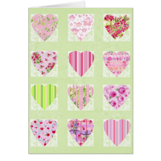 Watercolor Pink Hearts CollageValentine's Day Card
