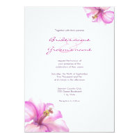 Watercolor Pink Hibiscus Wedding Invitations