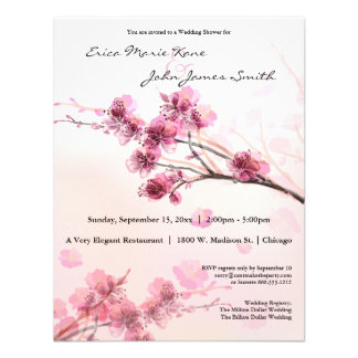 Watercolor Pink Hibiscus Wedding Shower Invite