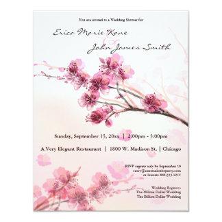 "Watercolor Pink Hibiscus Wedding Shower Invite 4.25"" X 5.5"" Invitation Card"