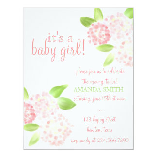 Watercolor Pink Hydrangea Baby Shower Invite