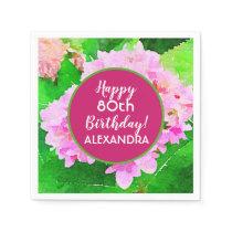 Watercolor Pink Hydrangea Birthday Napkin