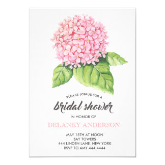 Watercolor Pink Hydrangea Bridal Shower Invitation