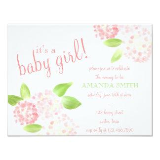 """Watercolor Pink Hydrangea Invitation 4.25"""" X 5.5"""" Invitation Card"""