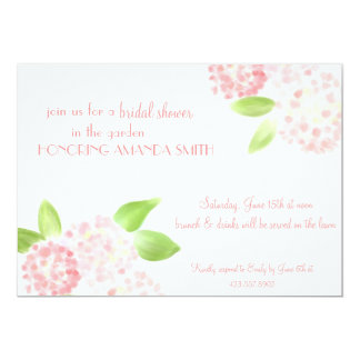 """Watercolor Pink Hydrangea Invitation 5"""" X 7"""" Invitation Card"""