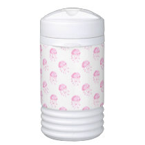 watercolor pink jellyfish beach design beverage cooler