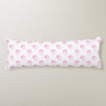 watercolor pink jellyfish beach design body pillow